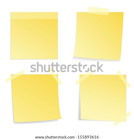 Yellow stick note on white background, vector illustration