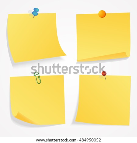 Yellow sticker set pinned push button with curled corner isolated on white background ready for your message. Vector illustration