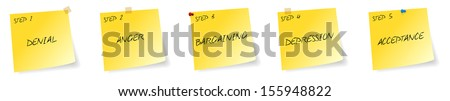 Yellow Stickers With Steps For Being Dependence Free - stock vector