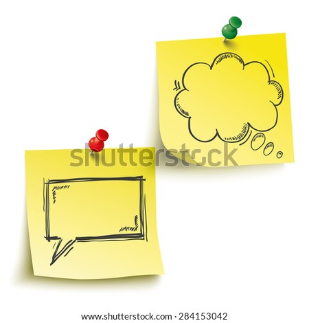 Yellow sticks with speech and thought bubbles and pins on the white background. Eps 10 vector file. - stock vector