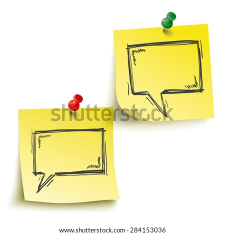 Yellow sticks with speech bubbles and pins on the white background. Eps 10 vector file. - stock vector