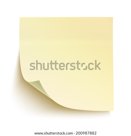 Yellow sticky note isolated on white background. Vector illustration - stock vector