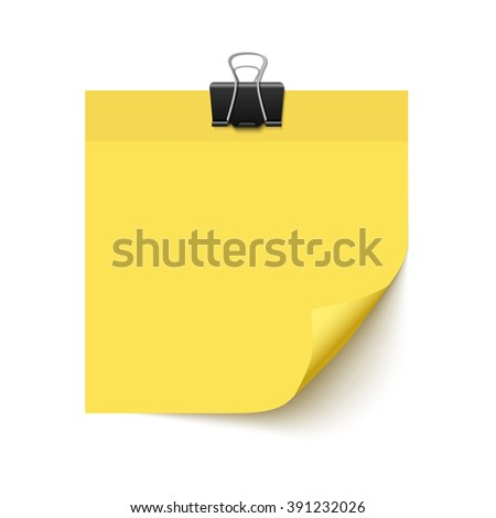 Yellow sticky note paper with curled corner. Realistic vector illustration of post it paper with paper clip. Paper sheet for reminder and memo - stock vector