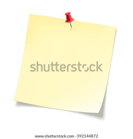 Yellow sticky note paper with curled corners .  Paper sheet for reminder and memo - stock vector