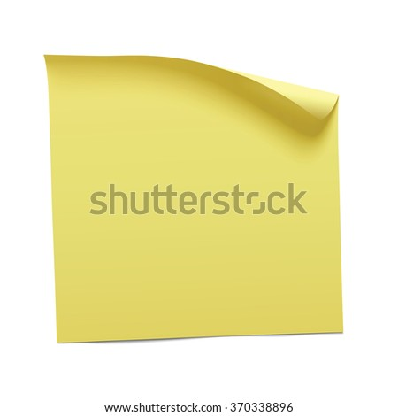 yellow sticky note, vector - stock vector