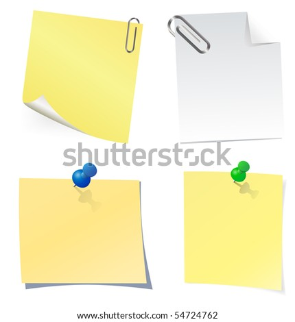 Yellow sticky note. Vector.