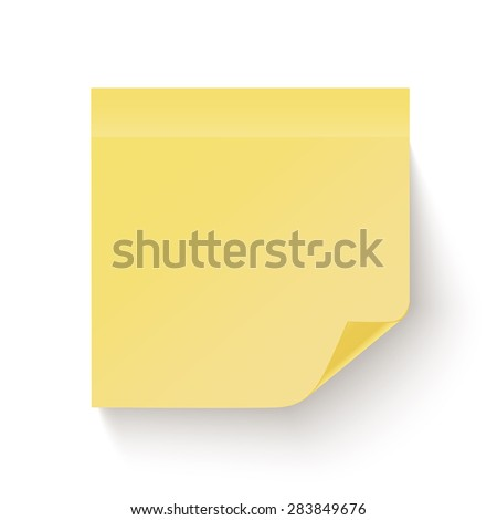 Yellow sticky note with the curled corner isolated on white background. Vector illustration - stock vector