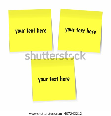 Yellow sticky notes isolated on white background, vector EPS10 - stock vector