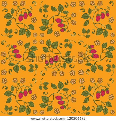 Yellow strawberry seamless background - stock vector