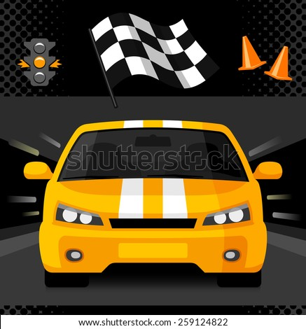 Yellow street racing car with sport checkered flag, traffic light and road cones. Vector illustration - stock vector