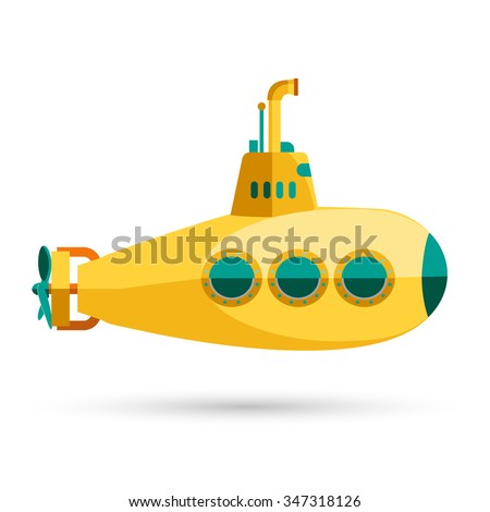 Yellow Submarine with periscope, Flat design. Vector - stock vector