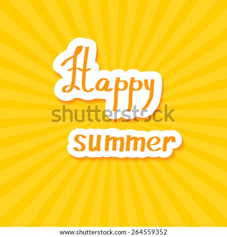Yellow summer background. Happy summer! Vector illustration.