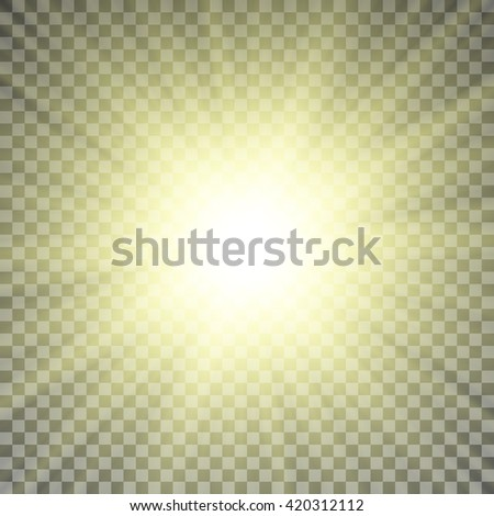 Yellow Sun Rays On Transparent Background Light Effect Vector Illustration