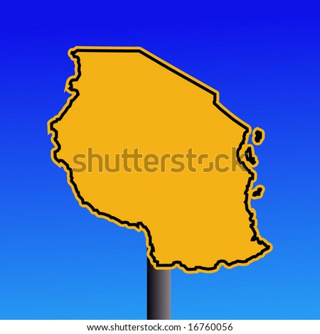 yellow Tanzania map warning sign on blue illustration