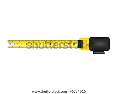 Yellow tape measure isolated on white background - stock vector