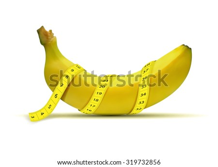 yellow tape measure wrapped around a banana - stock vector