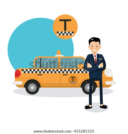 Yellow Taxi Car Taxi Driver Vector 스톡 벡터 455281525