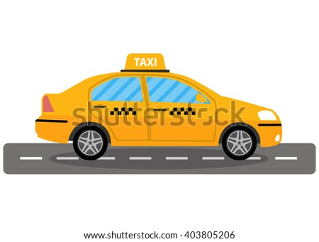 Yellow taxi car on road, taxi icon, call taxi concept, vector illustration in simple flat design isolated on white background - stock vector