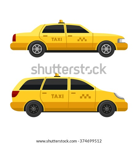 Yellow Taxi Cars Set on White Background. Vector - stock vector