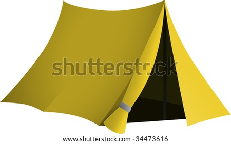 Yellow tent with open entrance - stock vector