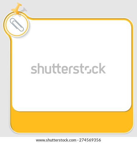 yellow text box with pushpin and paper clip - stock vector