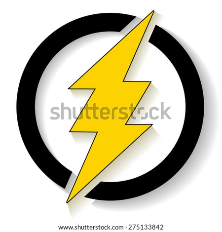 Yellow thunder in circle with shadow - stock vector