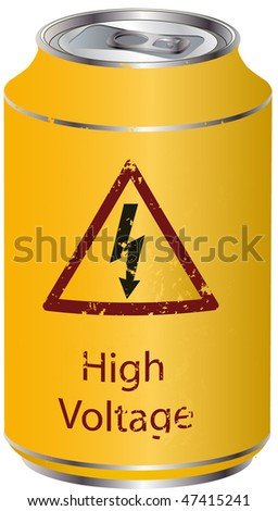 Yellow tin with a high voltage drink - stock vector
