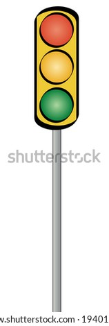 Yellow traffic light on a standing pole - illustration - stock vector