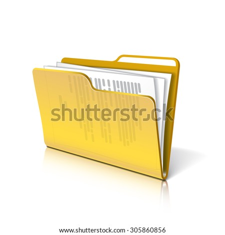Yellow transparent folder with papers. Document icon. Vector illustration. - stock vector
