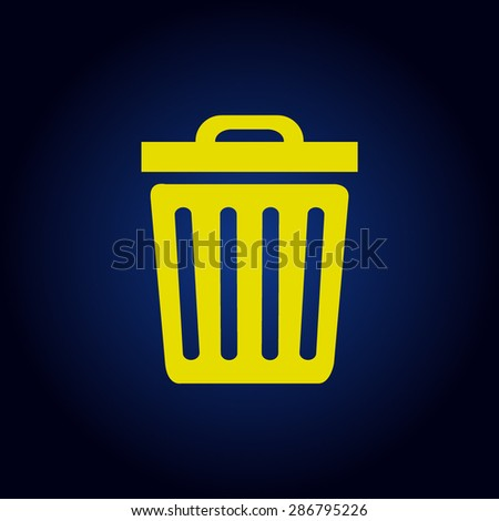 Yellow Trash icon  on a blue background - stock vector