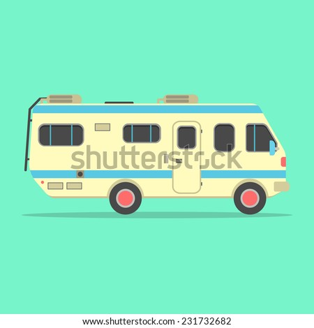 yellow travel camper van isolated on green background. concept of outdoor recreation and travel around the world. flat style design trendy modern vector illustration - stock vector