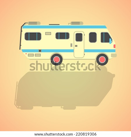 yellow travel camper van with shadow. isolated on stylish background. flat style design modern vector illustration - stock vector