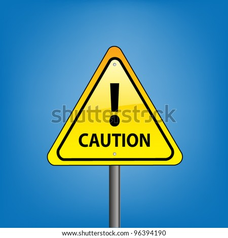 Yellow triangle hazard warning sign against blue sky - caution exclamation concept, vector version - stock vector