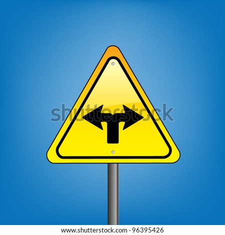 Yellow triangle hazard warning sign against blue sky - change ahead indication with arrows, vector version - stock vector
