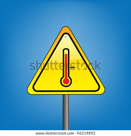 Yellow triangle hazard warning sign against blue sky - high temperature indication, vector version - stock vector