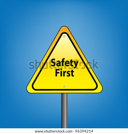 Yellow triangle hazard warning sign against blue sky - safety first indication, vector version - stock vector