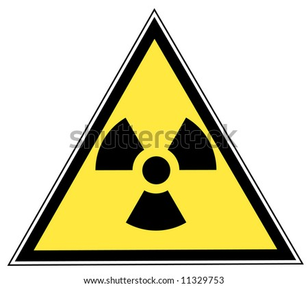 yellow triangle sign with radio active symbol - vector - stock vector