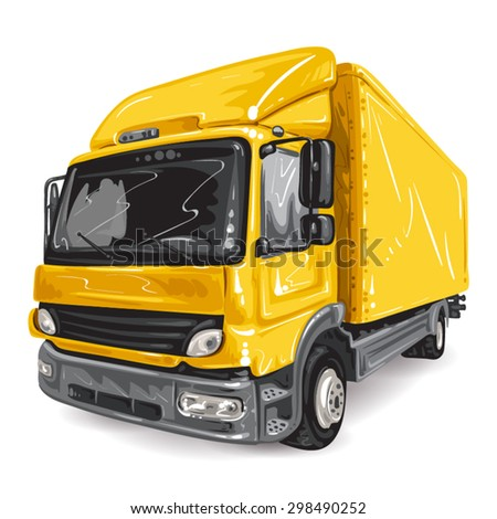 Yellow Truck on white background - stock vector