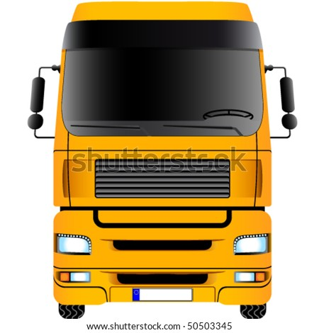Yellow truck - vector illustration - stock vector