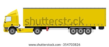Yellow truck with a trailer on a white background - stock vector