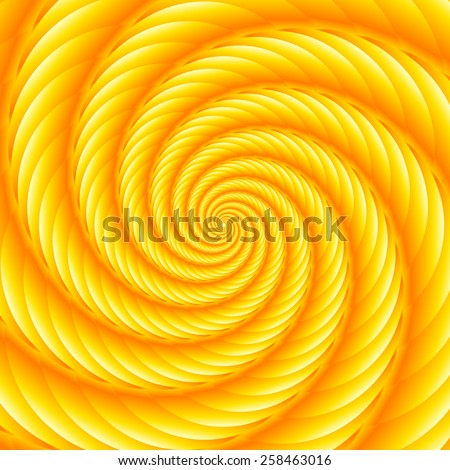 Yellow twisted and ribbed spiral object with background - stock vector