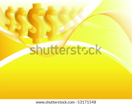yellow vector background with dollars. Eps10 version