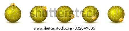 Yellow Vector Christmas Balls Collection with Starlet Texture - Panorama Bauble Set - Star Pattern - X-Mas Decorations - Each Ball is in Extra Vector Layer, Cleanly Separated - Christmas Tree Decor. - stock vector