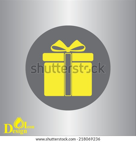 yellow vector icon on gray background - stock vector