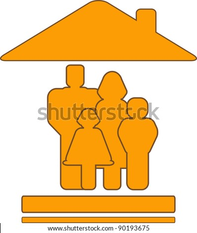 yellow vector sign with warm house and family silhouette - stock vector