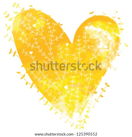Yellow vector watercolor heart with floral ornament - stock vector