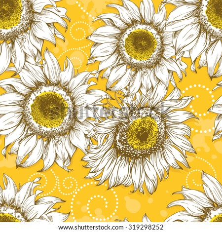 Yellow Vintage sunflower background with hand-drawn flower heads, curls and splashes - stock vector