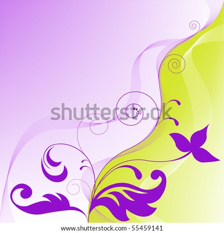 yellow-violet asymmetrical abstract background with floral elements
