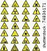Yellow warning and danger signs collection - stock vector
