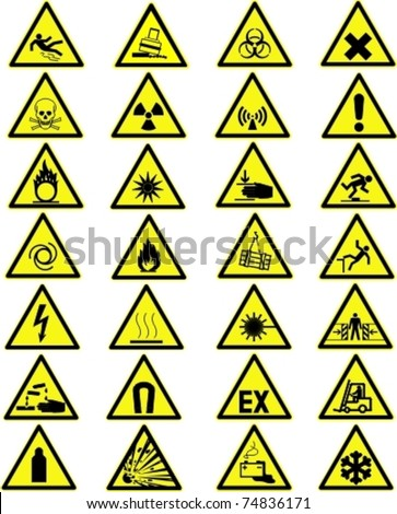 Yellow warning and danger signs collection